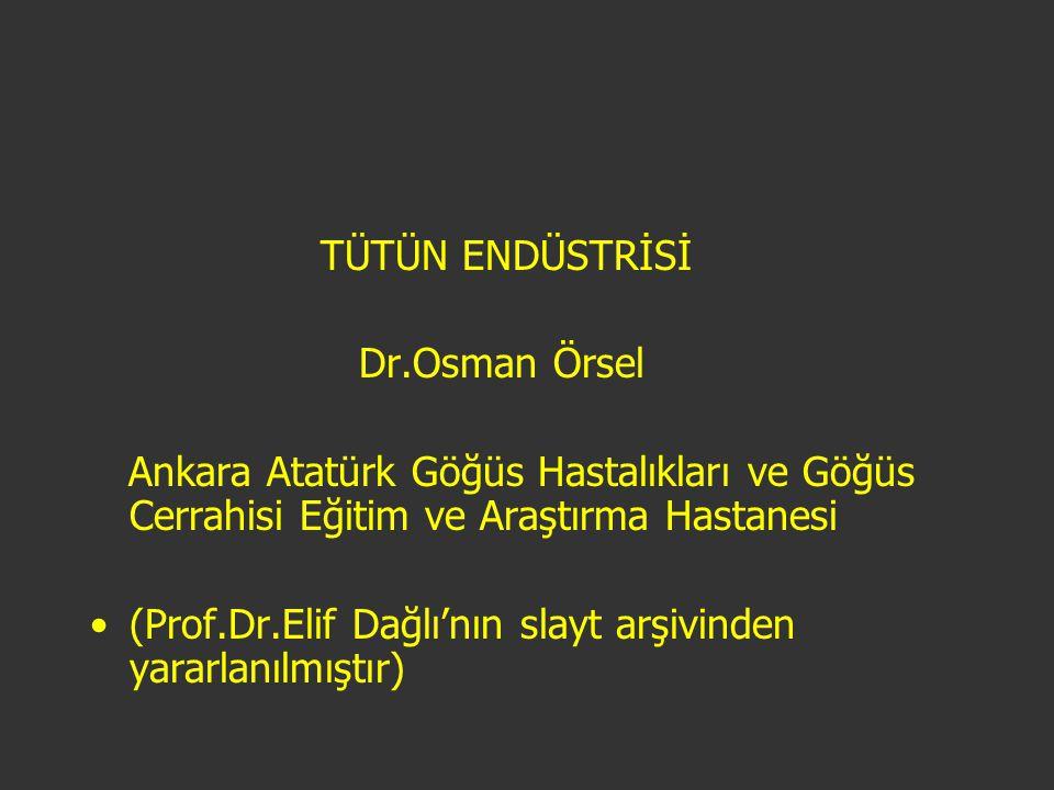 TÜTÜN ENDÜSTRİSİ Dr.Osman Örsel. Ankara Atatürk Göğüs Hastalıkları ve Göğüs Cerrahisi Eğitim ve Araştırma Hastanesi.