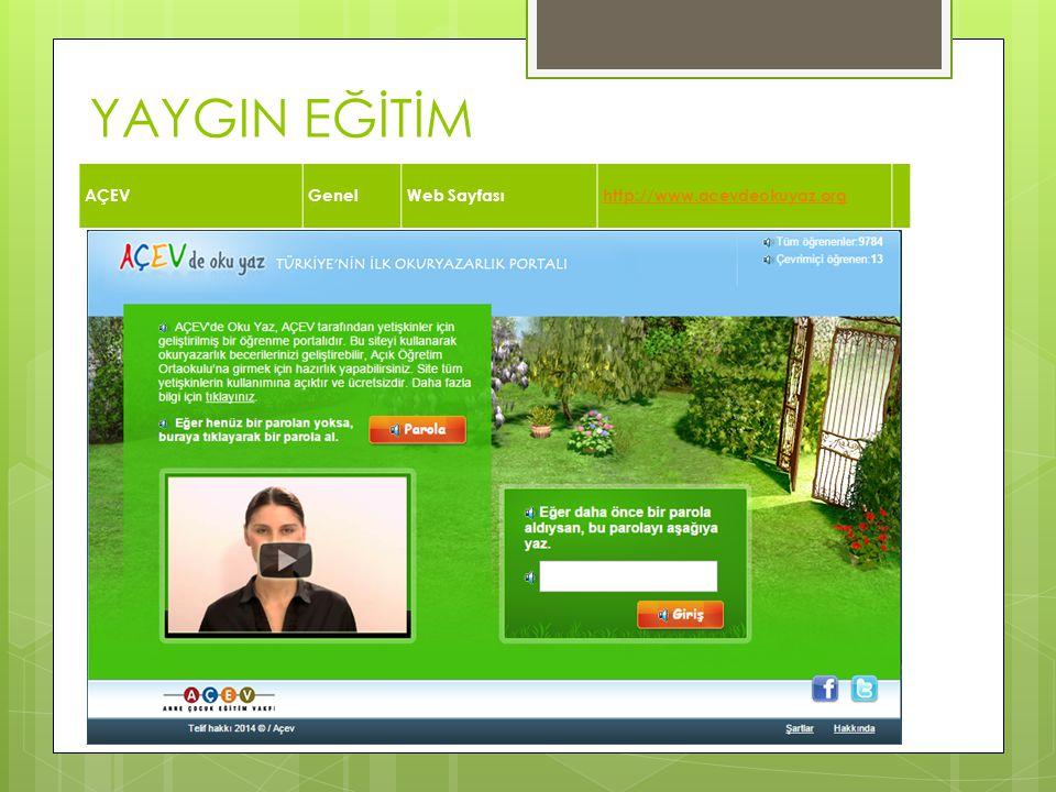 YAYGIN EĞİTİM AÇEV Genel Web Sayfası http://www.acevdeokuyaz.org