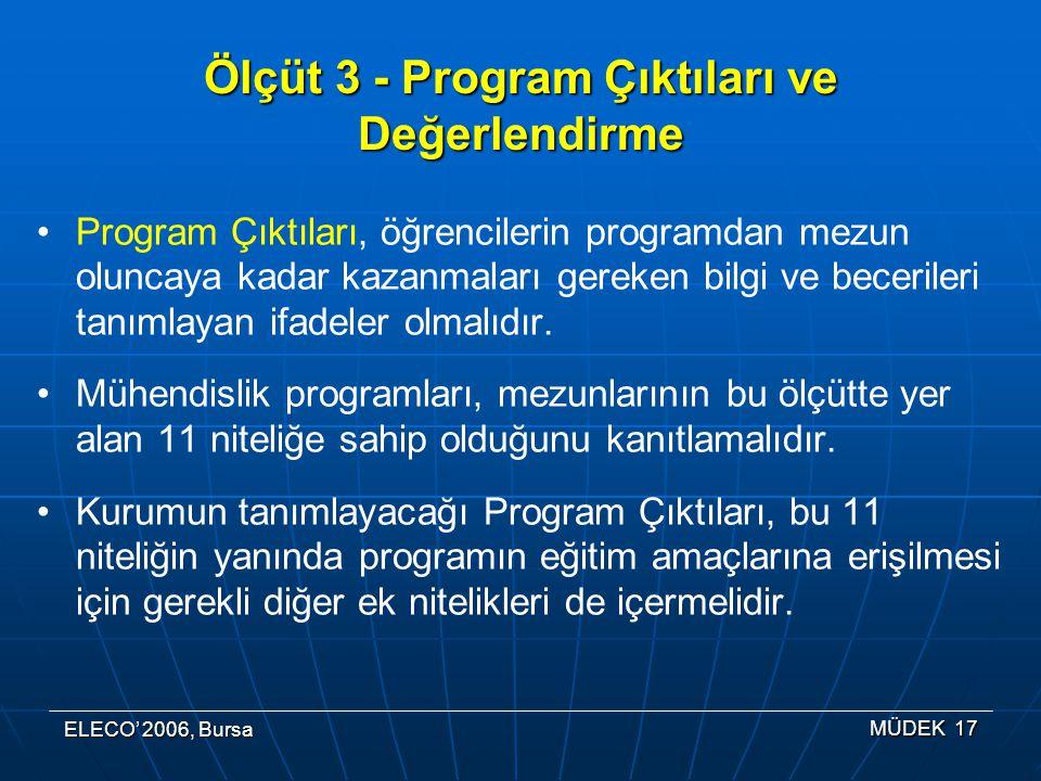 Ölçüt 3 - Program Çıktıları ve Değerlendirme