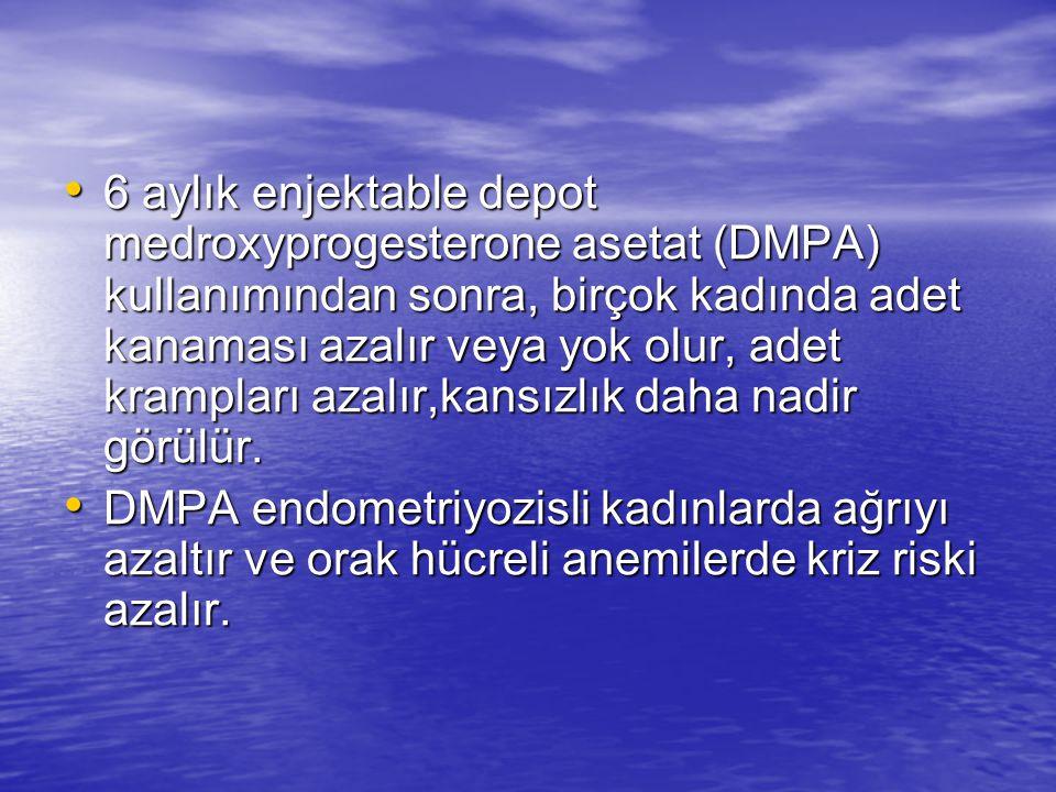 6 aylık enjektable depot medroxyprogesterone asetat (DMPA) kullanımından sonra, birçok kadında adet kanaması azalır veya yok olur, adet krampları azalır,kansızlık daha nadir görülür.