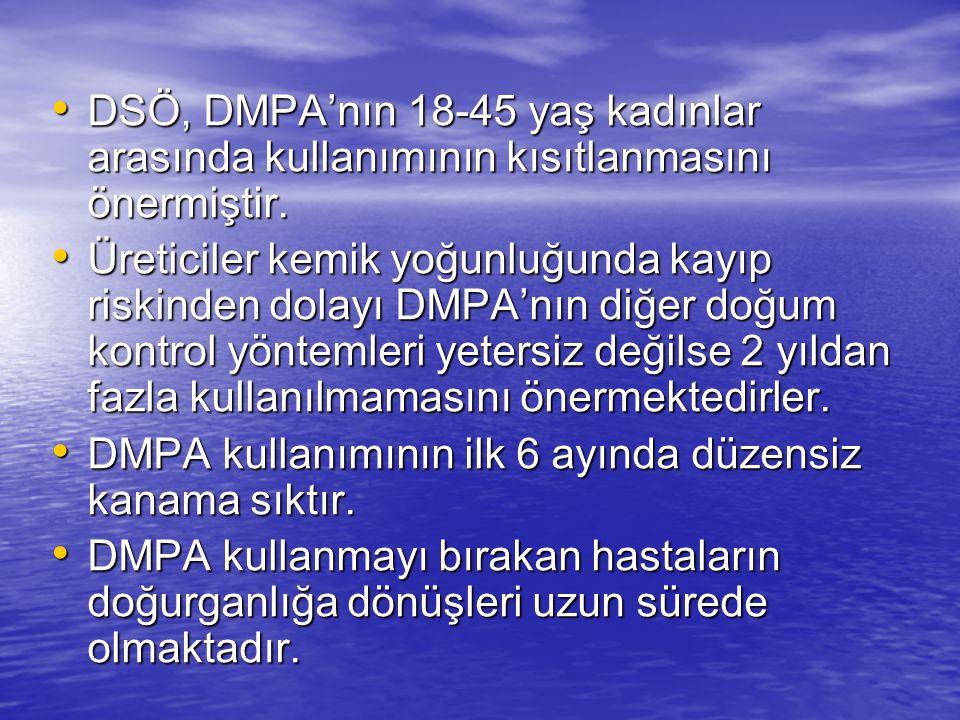 DSÖ, DMPA'nın 18-45 yaş kadınlar arasında kullanımının kısıtlanmasını önermiştir.