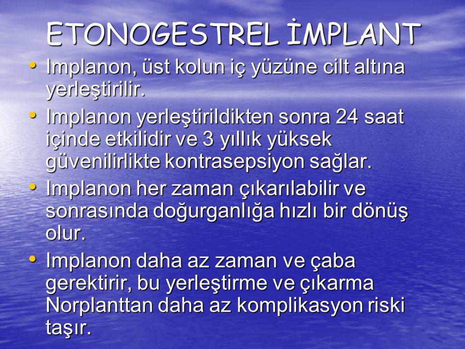 ETONOGESTREL İMPLANT Implanon, üst kolun iç yüzüne cilt altına yerleştirilir.