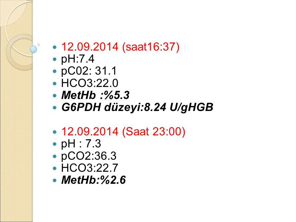 12.09.2014 (saat16:37) pH:7.4. pC02: 31.1. HCO3:22.0. MetHb :%5.3. G6PDH düzeyi:8.24 U/gHGB. 12.09.2014 (Saat 23:00)