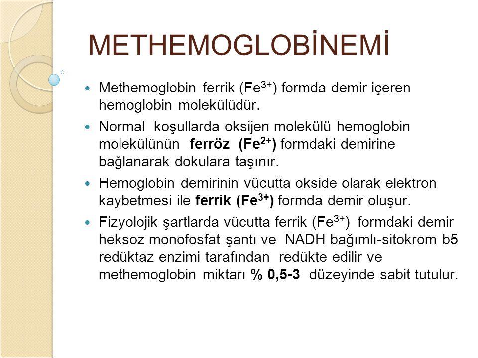 METHEMOGLOBİNEMİ Methemoglobin ferrik (Fe3+) formda demir içeren hemoglobin molekülüdür.