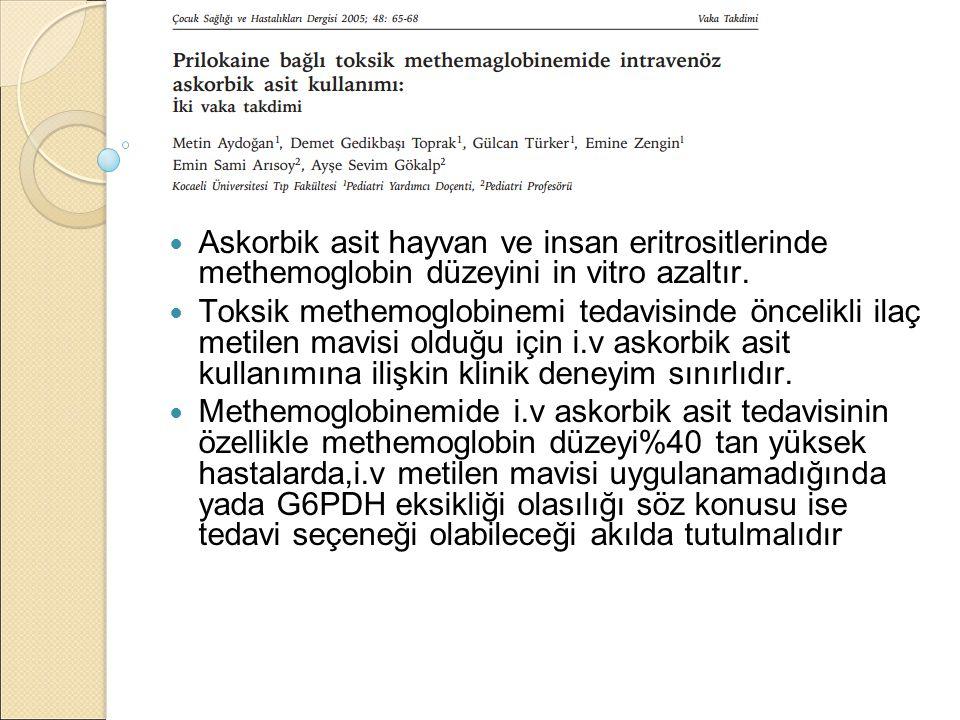 Askorbik asit hayvan ve insan eritrositlerinde methemoglobin düzeyini in vitro azaltır.