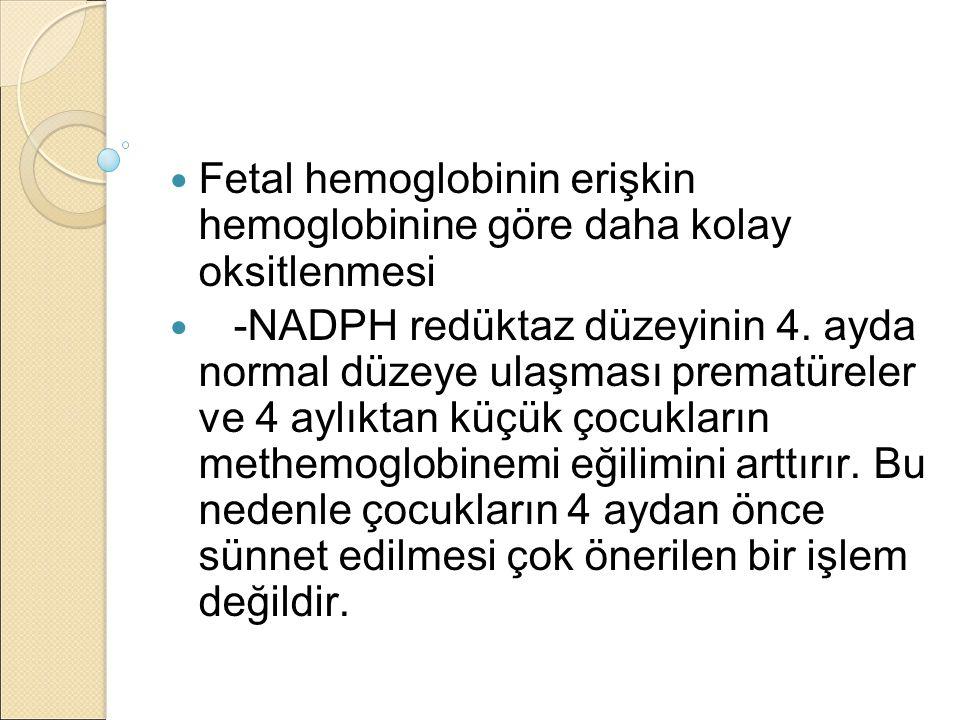 Fetal hemoglobinin erişkin hemoglobinine göre daha kolay oksitlenmesi