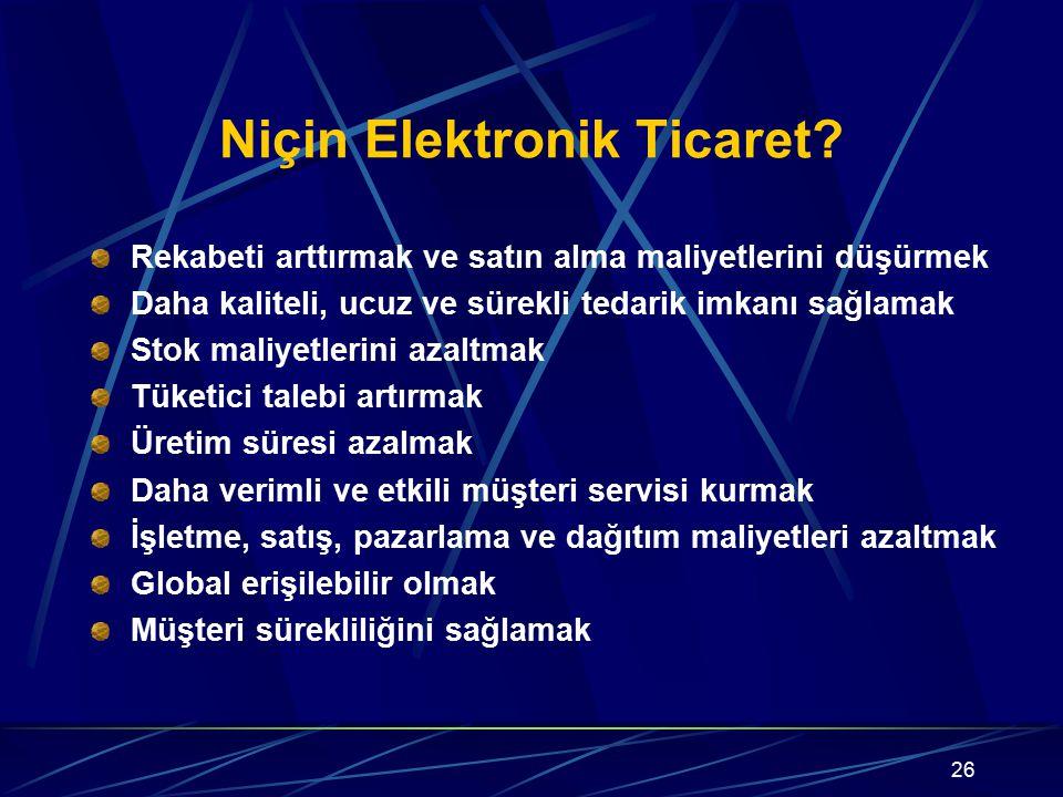 Niçin Elektronik Ticaret