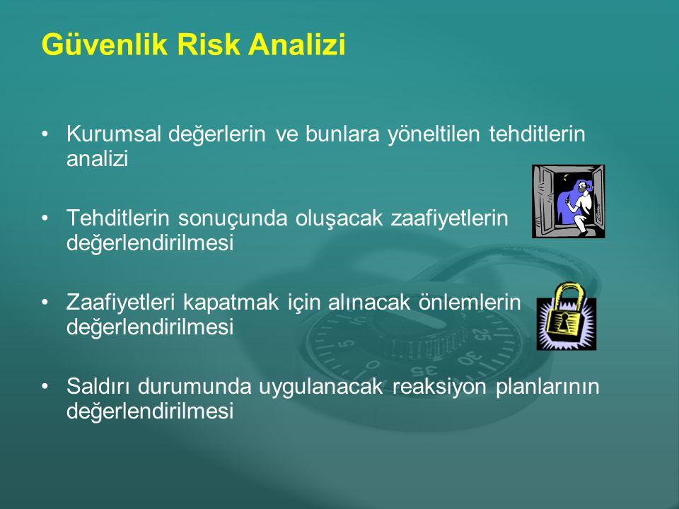 Güvenlik Risk Analizi Kurumsal değerlerin ve bunlara yöneltilen tehditlerin analizi. Tehditlerin sonuçunda oluşacak zaafiyetlerin değerlendirilmesi.