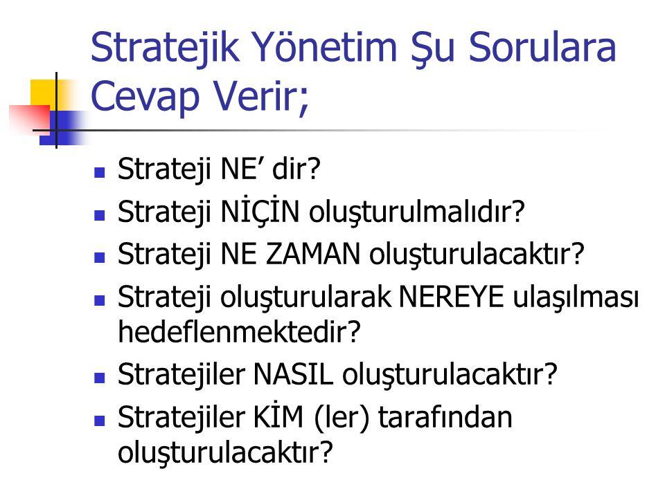 Stratejik Yönetim Şu Sorulara Cevap Verir;