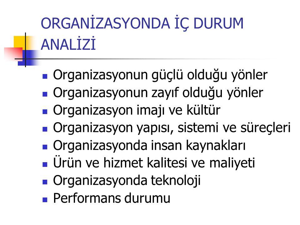 ORGANİZASYONDA İÇ DURUM ANALİZİ