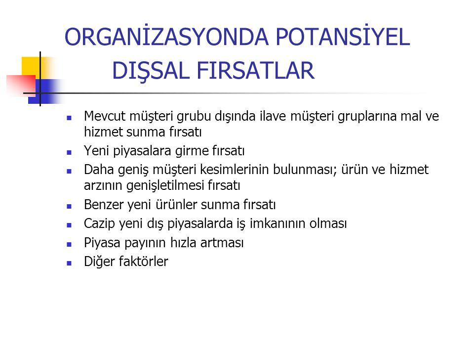 ORGANİZASYONDA POTANSİYEL DIŞSAL FIRSATLAR