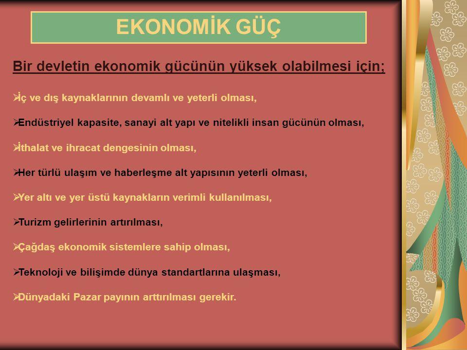 EKONOMİK GÜÇ Bir devletin ekonomik gücünün yüksek olabilmesi için;