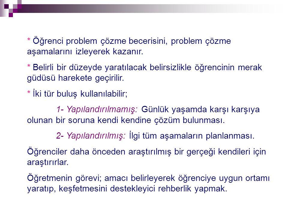 * Öğrenci problem çözme becerisini, problem çözme aşamalarını izleyerek kazanır.