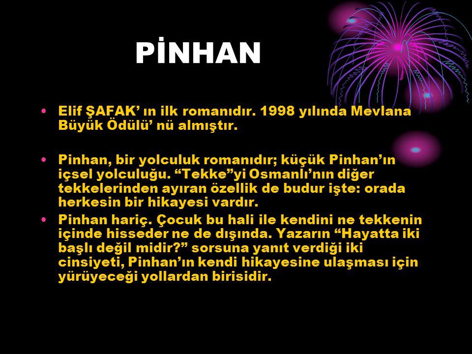 PİNHAN Elif ŞAFAK' ın ilk romanıdır. 1998 yılında Mevlana Büyük Ödülü' nü almıştır.