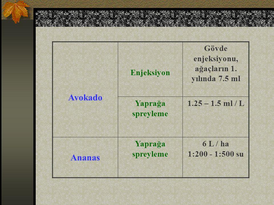 Gövde enjeksiyonu, ağaçların 1. yılında 7.5 ml