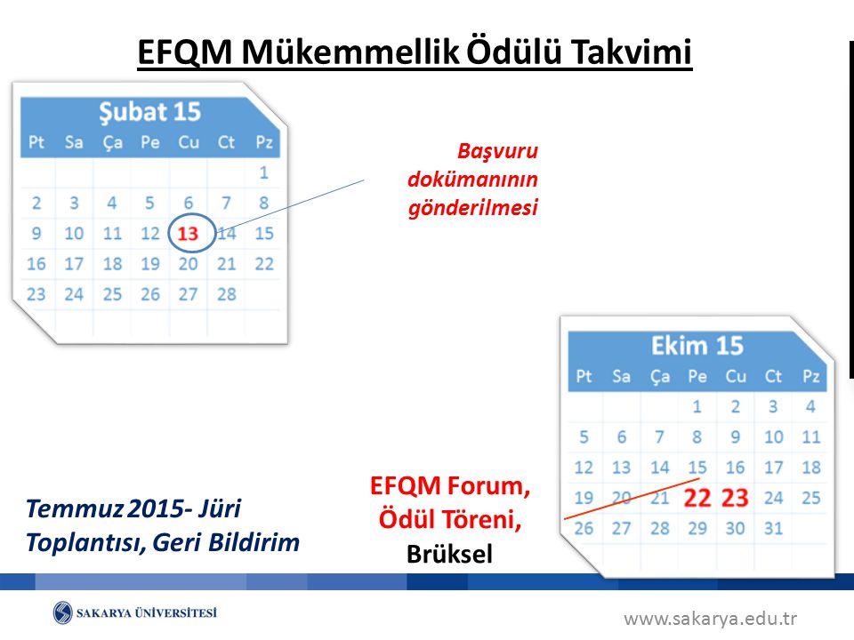 EFQM Mükemmellik Ödülü Takvimi