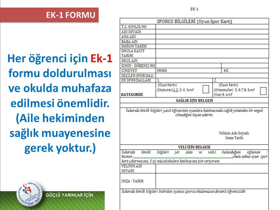 EK-1 FORMU Her öğrenci için Ek-1 formu doldurulması ve okulda muhafaza edilmesi önemlidir.