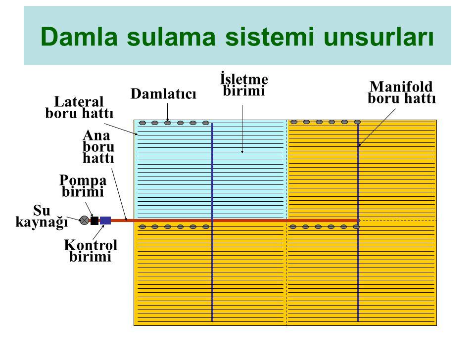 Damla sulama sistemi unsurları
