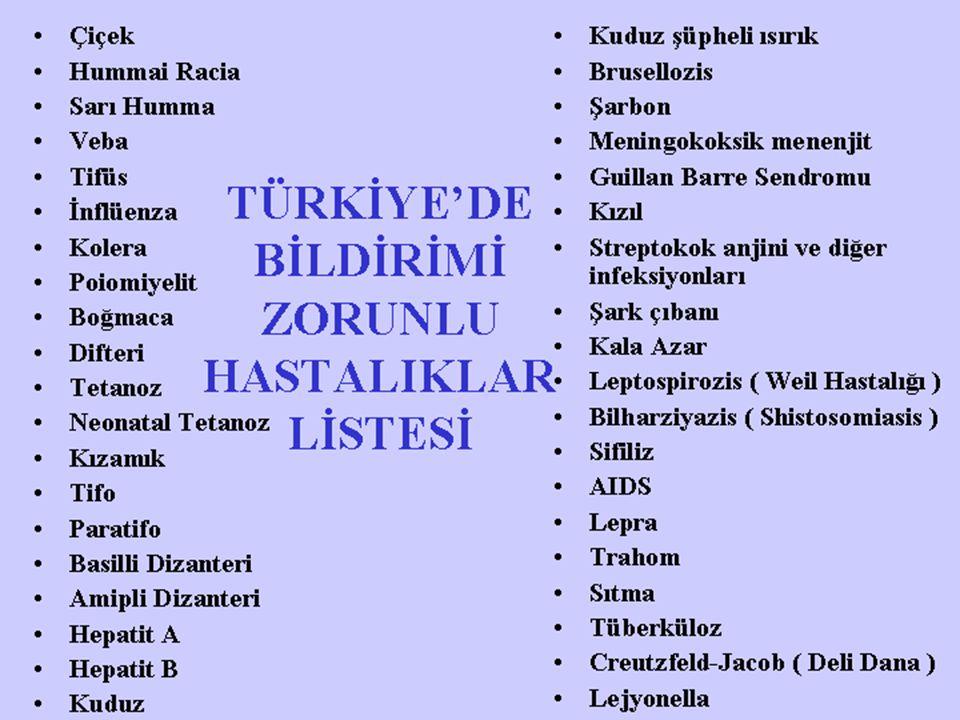 TÜRKİYE'DE BİLDİRİMİ ZORUNLU HASTALIKLAR LİSTESİ