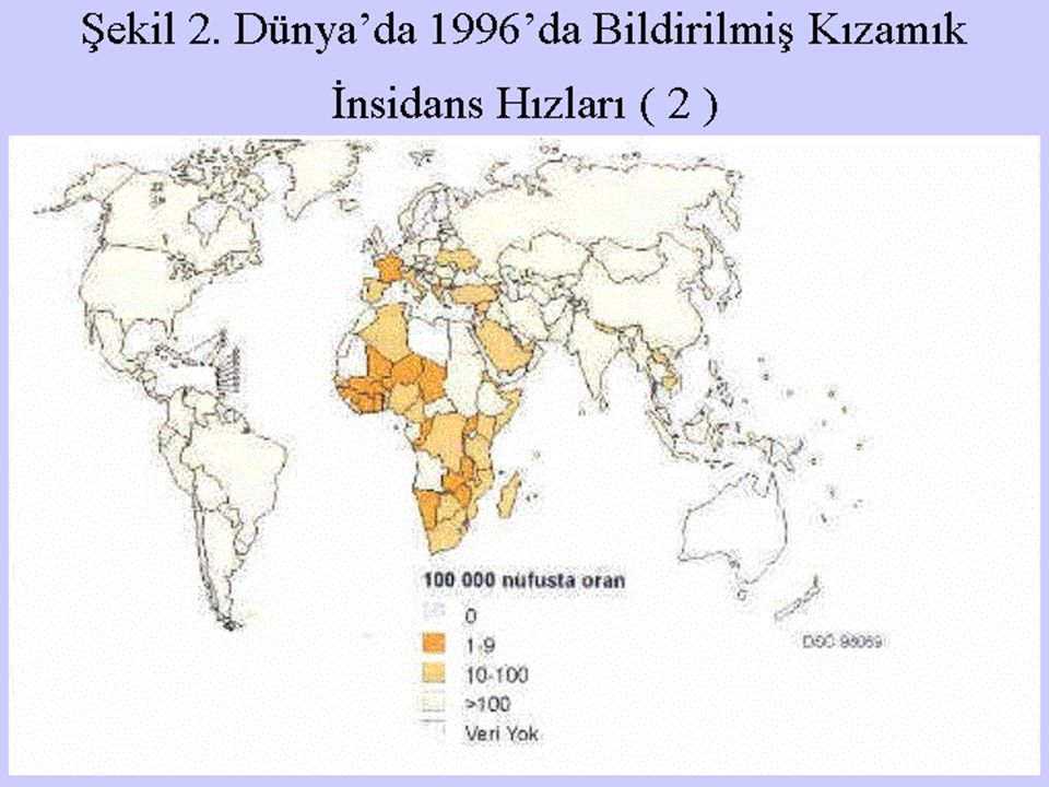 Şekil 2. Dünya'da 1996'da Bildirilmiş Kızamık İnsidans Hızları ( 2 )