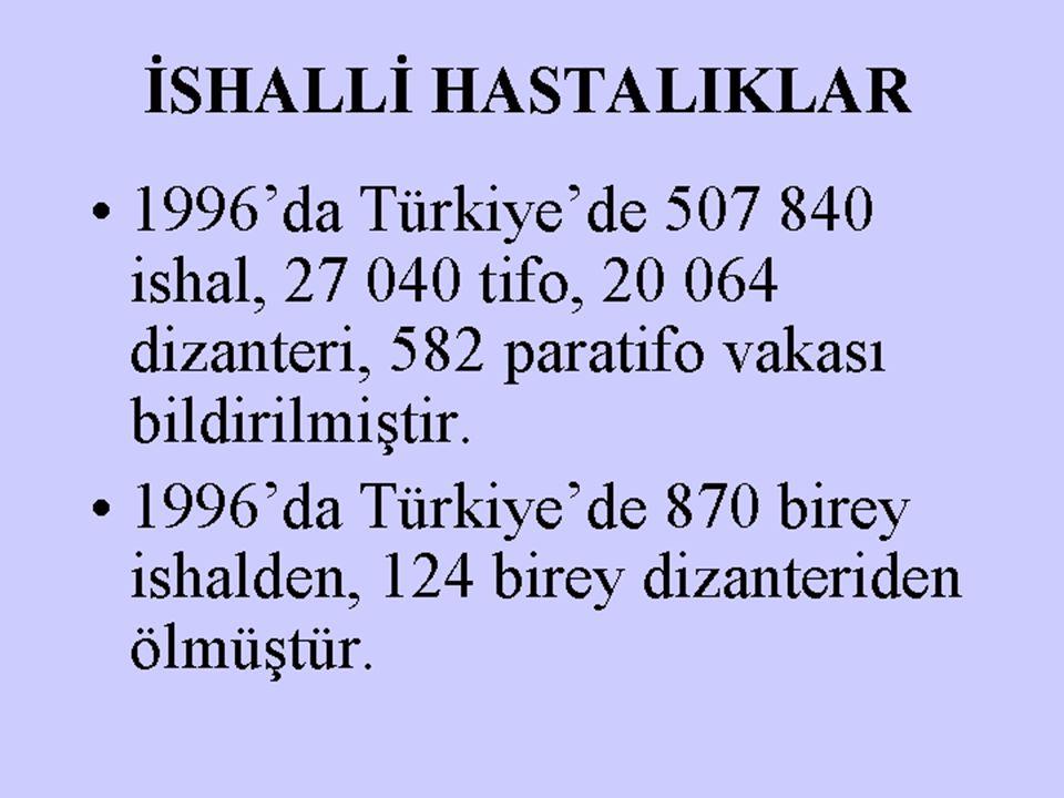 İSHALLİ HASTALIKLAR 1996'da Türkiye'de 507 840 ishal, 27 040 tifo, 20 064 dizanteri, 582 paratifo vakası bildirilmiştir.