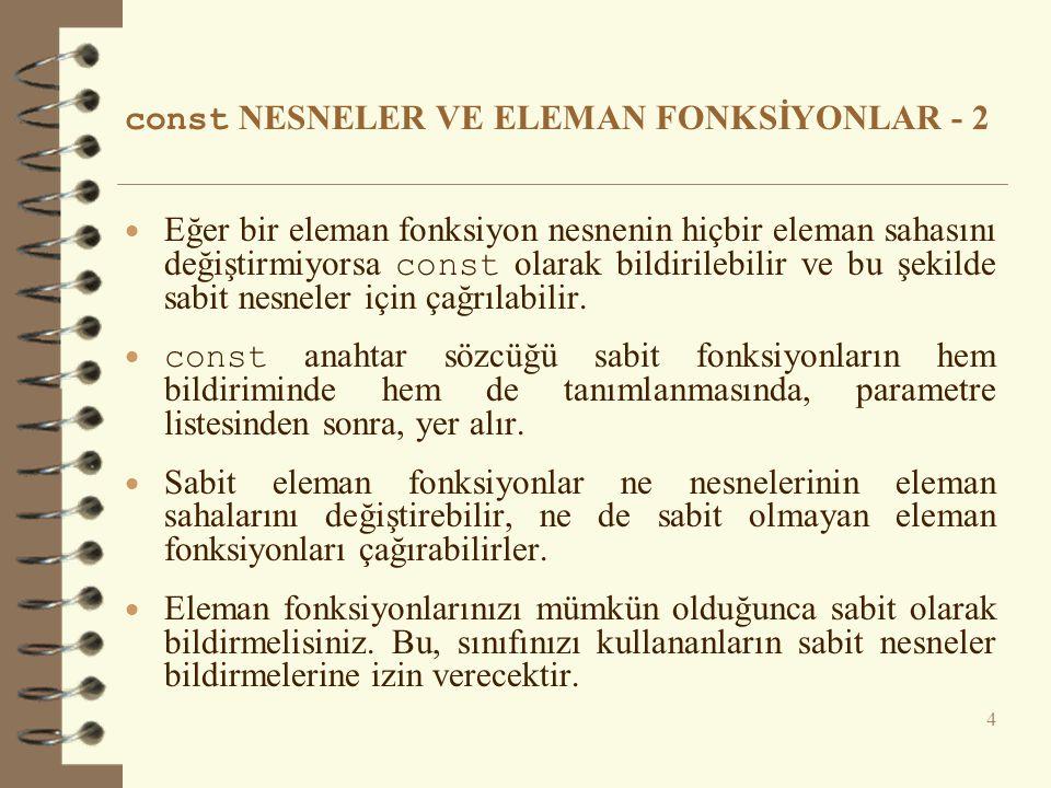 const NESNELER VE ELEMAN FONKSİYONLAR - 2