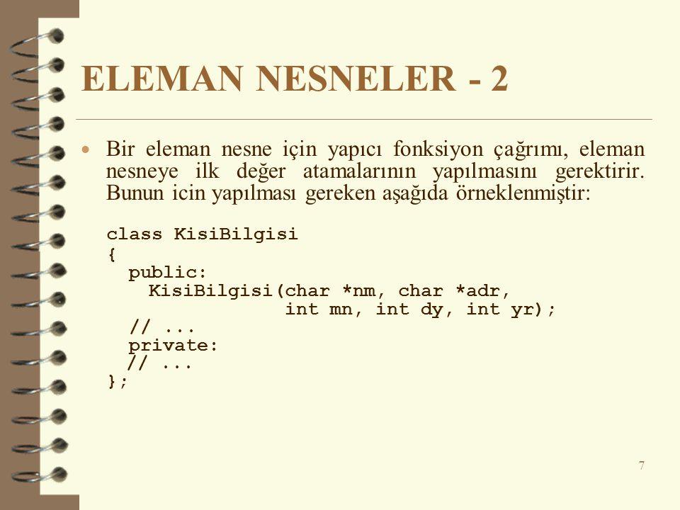 ELEMAN NESNELER - 2 class KisiBilgisi