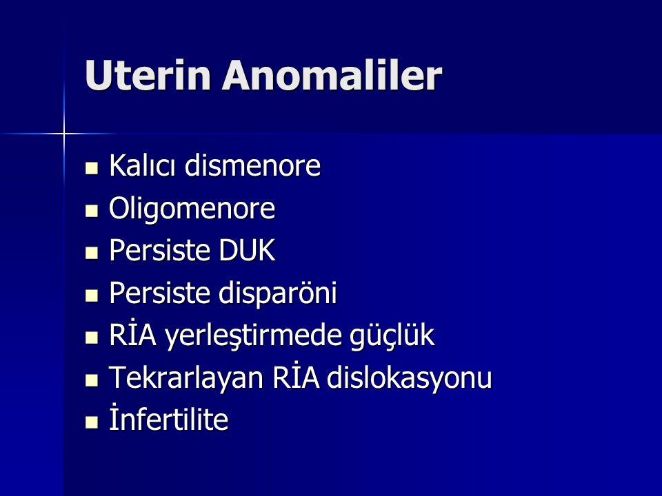 Uterin Anomaliler Kalıcı dismenore Oligomenore Persiste DUK