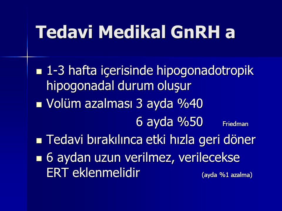 Tedavi Medikal GnRH a 1-3 hafta içerisinde hipogonadotropik hipogonadal durum oluşur. Volüm azalması 3 ayda %40.
