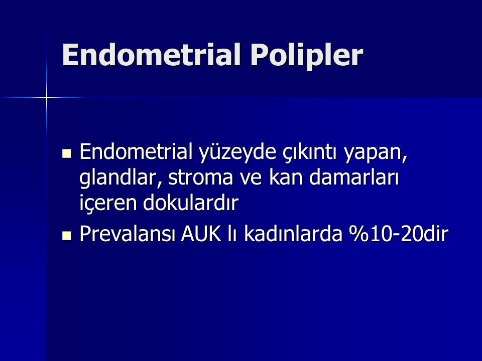 Endometrial Polipler Endometrial yüzeyde çıkıntı yapan, glandlar, stroma ve kan damarları içeren dokulardır.