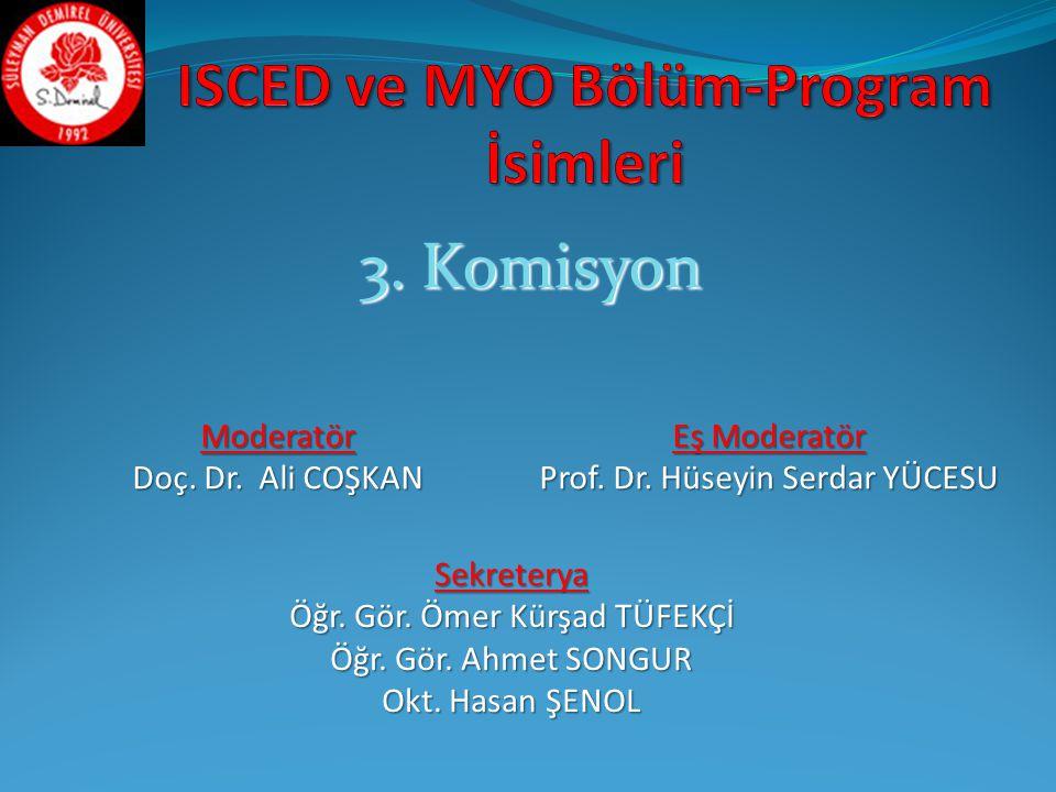 ISCED ve MYO Bölüm-Program İsimleri