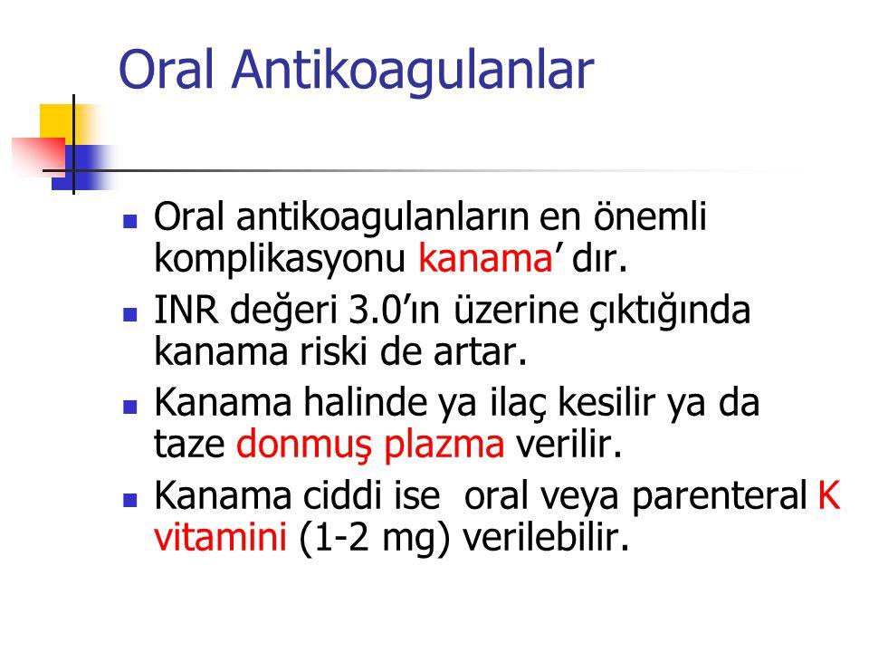Oral Antikoagulanlar Oral antikoagulanların en önemli komplikasyonu kanama' dır. INR değeri 3.0'ın üzerine çıktığında kanama riski de artar.