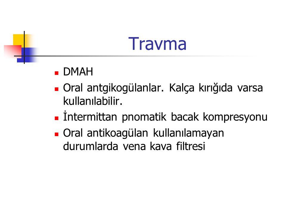 Travma DMAH Oral antgikogülanlar. Kalça kırığıda varsa kullanılabilir.