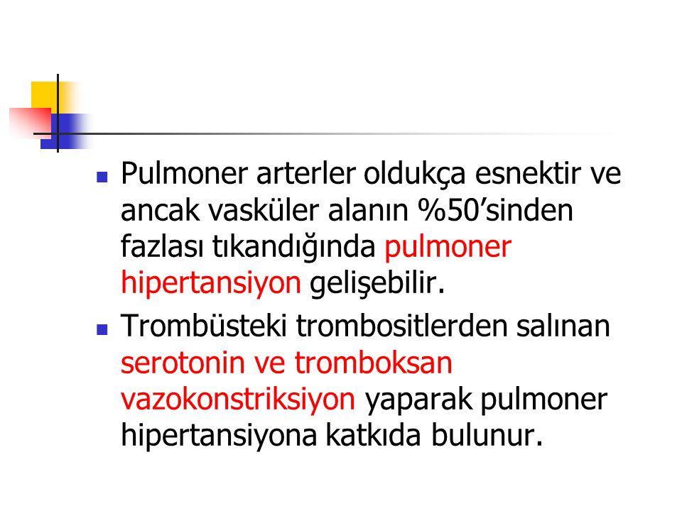 Pulmoner arterler oldukça esnektir ve ancak vasküler alanın %50'sinden fazlası tıkandığında pulmoner hipertansiyon gelişebilir.