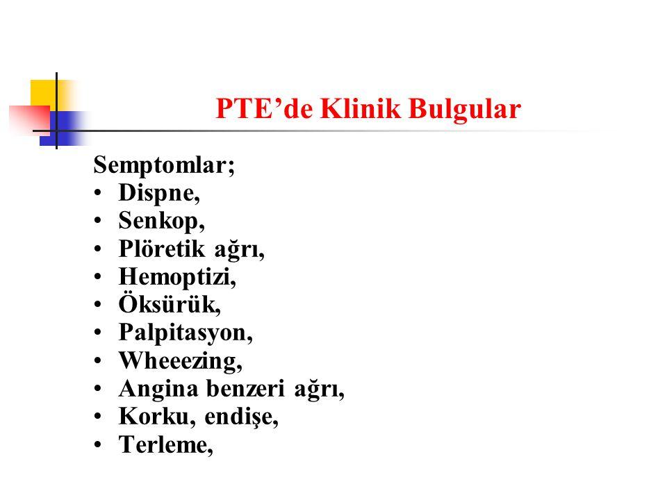 PTE'de Klinik Bulgular