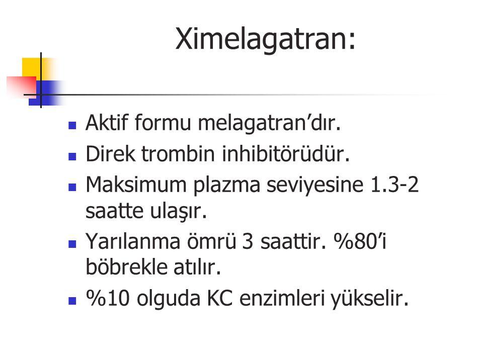 Ximelagatran: Aktif formu melagatran'dır. Direk trombin inhibitörüdür.