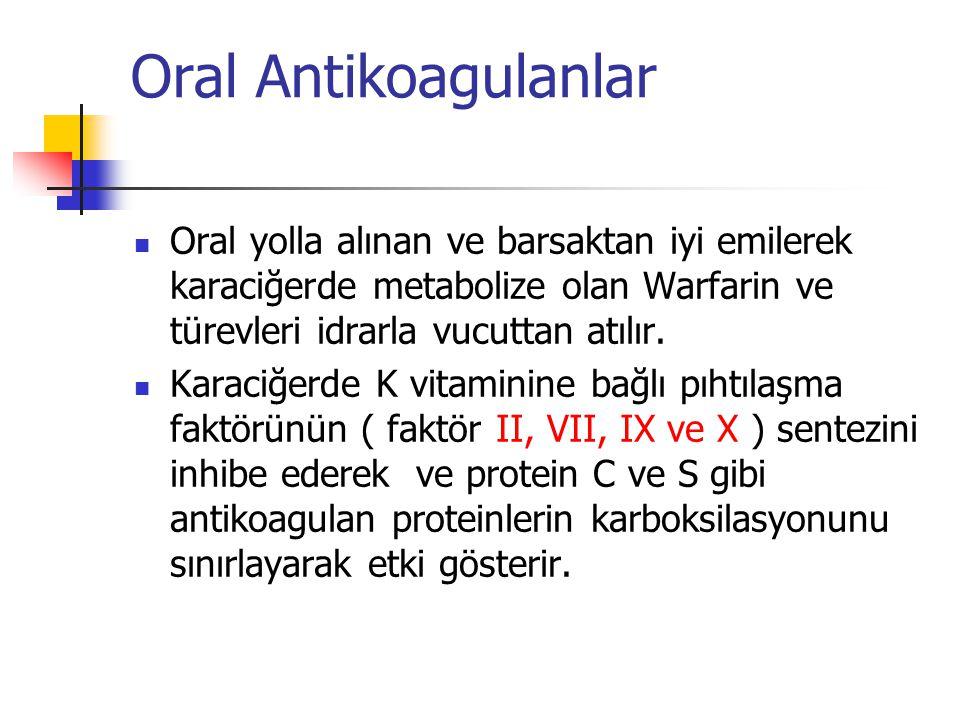 Oral Antikoagulanlar Oral yolla alınan ve barsaktan iyi emilerek karaciğerde metabolize olan Warfarin ve türevleri idrarla vucuttan atılır.