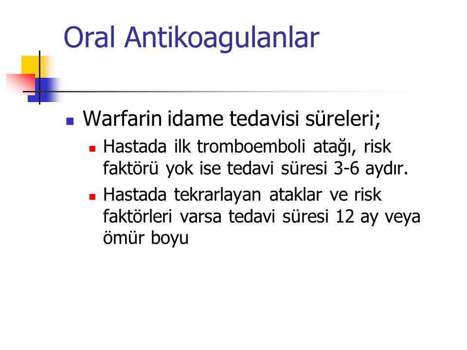 Oral Antikoagulanlar Warfarin idame tedavisi süreleri;