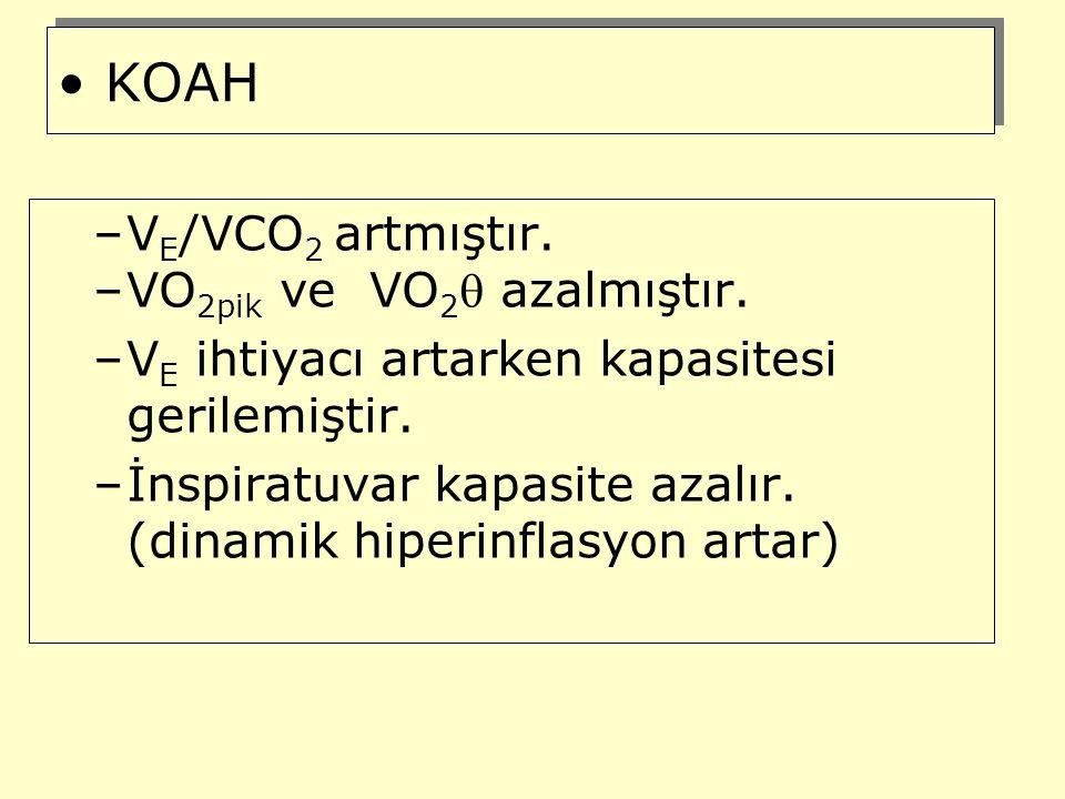 KOAH VE/VCO2 artmıştır. VO2pik ve VO2 azalmıştır.