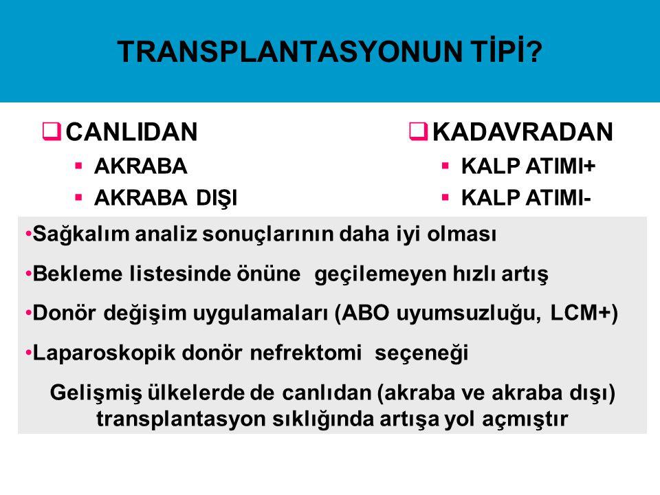 TRANSPLANTASYONUN TİPİ