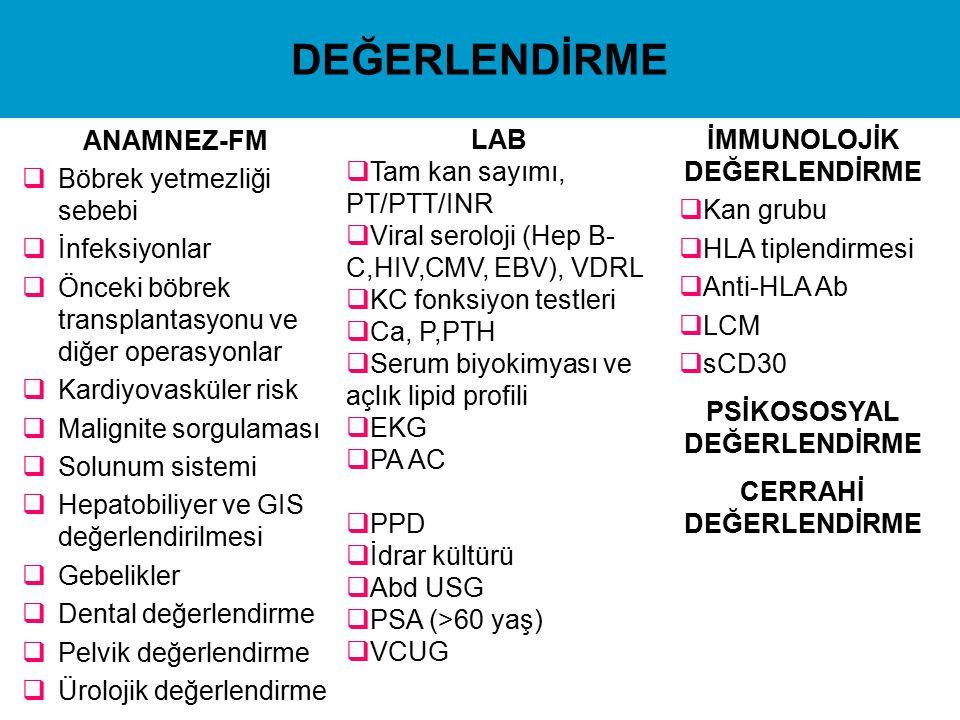 DEĞERLENDİRME LAB Tam kan sayımı, PT/PTT/INR