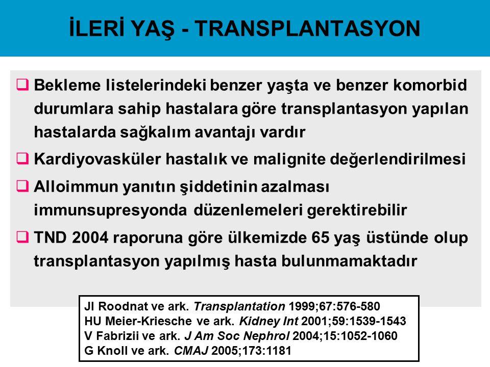 İLERİ YAŞ - TRANSPLANTASYON