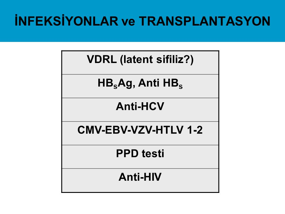 İNFEKSİYONLAR ve TRANSPLANTASYON