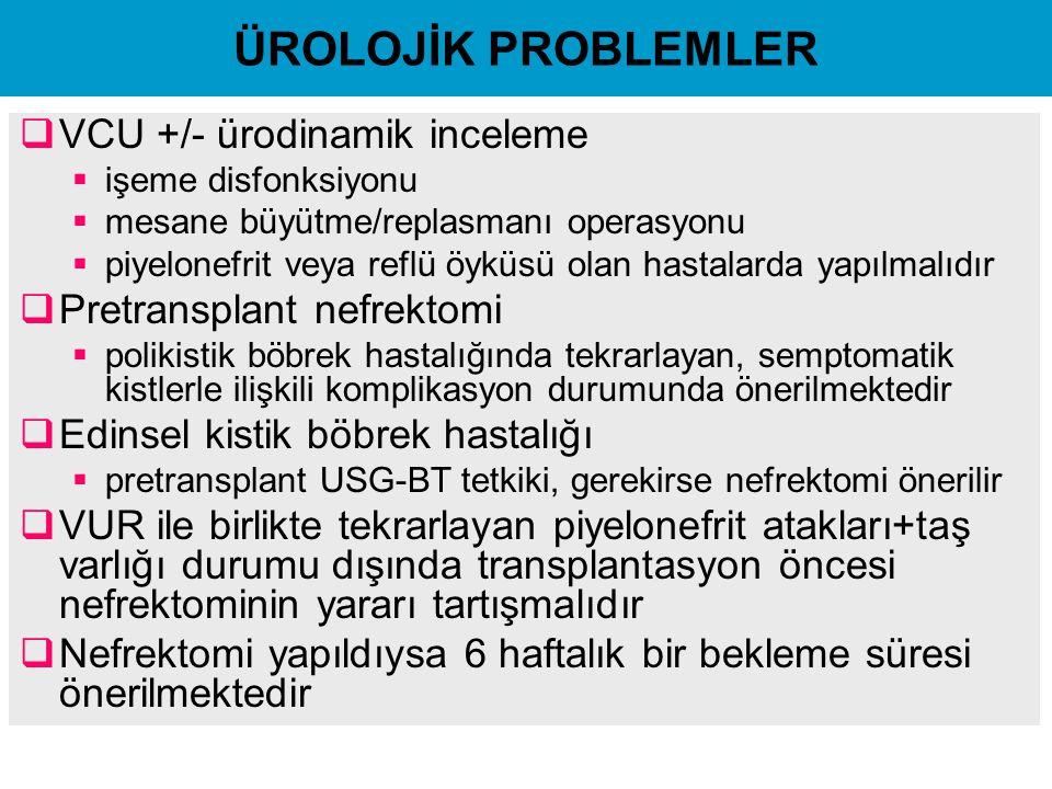 ÜROLOJİK PROBLEMLER VCU +/- ürodinamik inceleme