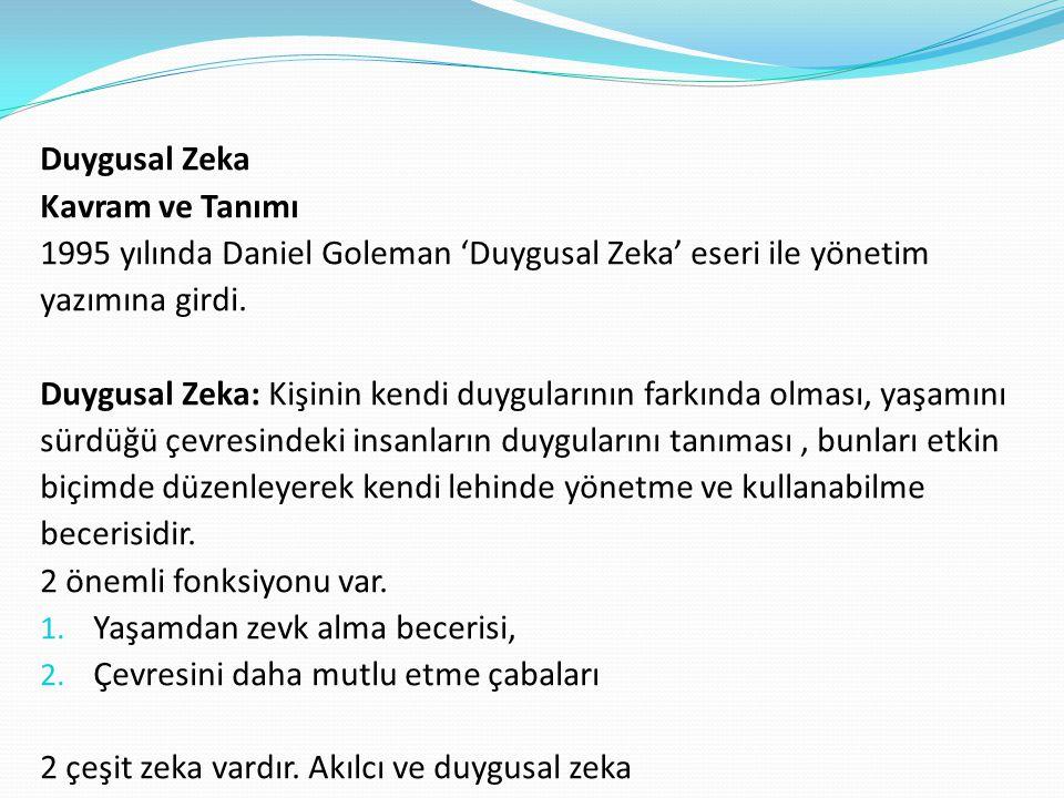 Duygusal Zeka Kavram ve Tanımı. 1995 yılında Daniel Goleman 'Duygusal Zeka' eseri ile yönetim. yazımına girdi.
