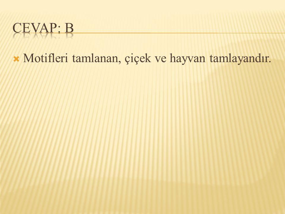 CEVAP: B Motifleri tamlanan, çiçek ve hayvan tamlayandır.
