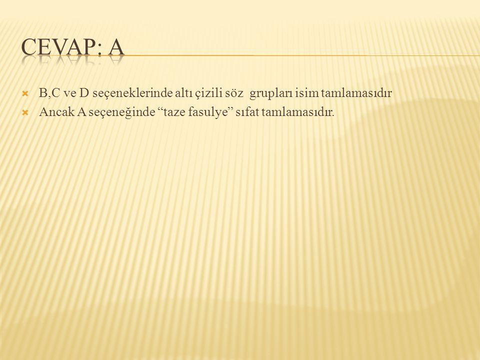 CEVAP: A B,C ve D seçeneklerinde altı çizili söz grupları isim tamlamasıdır.