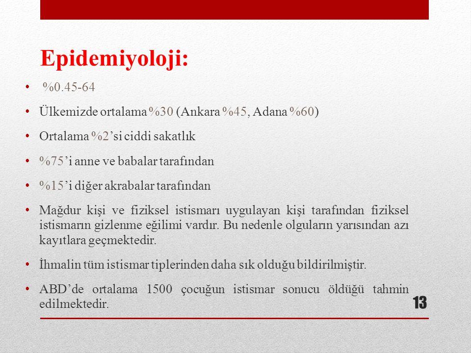 Epidemiyoloji: %0.45-64 Ülkemizde ortalama %30 (Ankara %45, Adana %60)