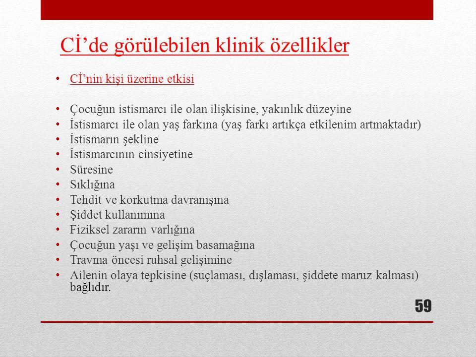 Cİ'de görülebilen klinik özellikler