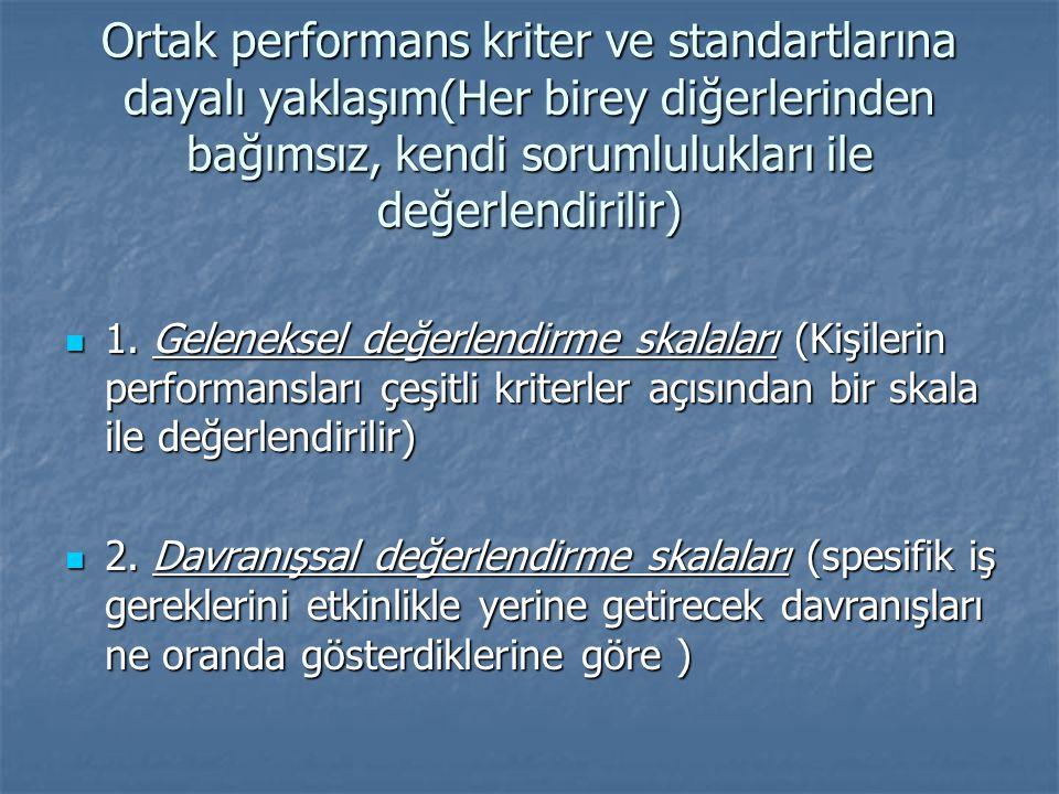 Ortak performans kriter ve standartlarına dayalı yaklaşım(Her birey diğerlerinden bağımsız, kendi sorumlulukları ile değerlendirilir)
